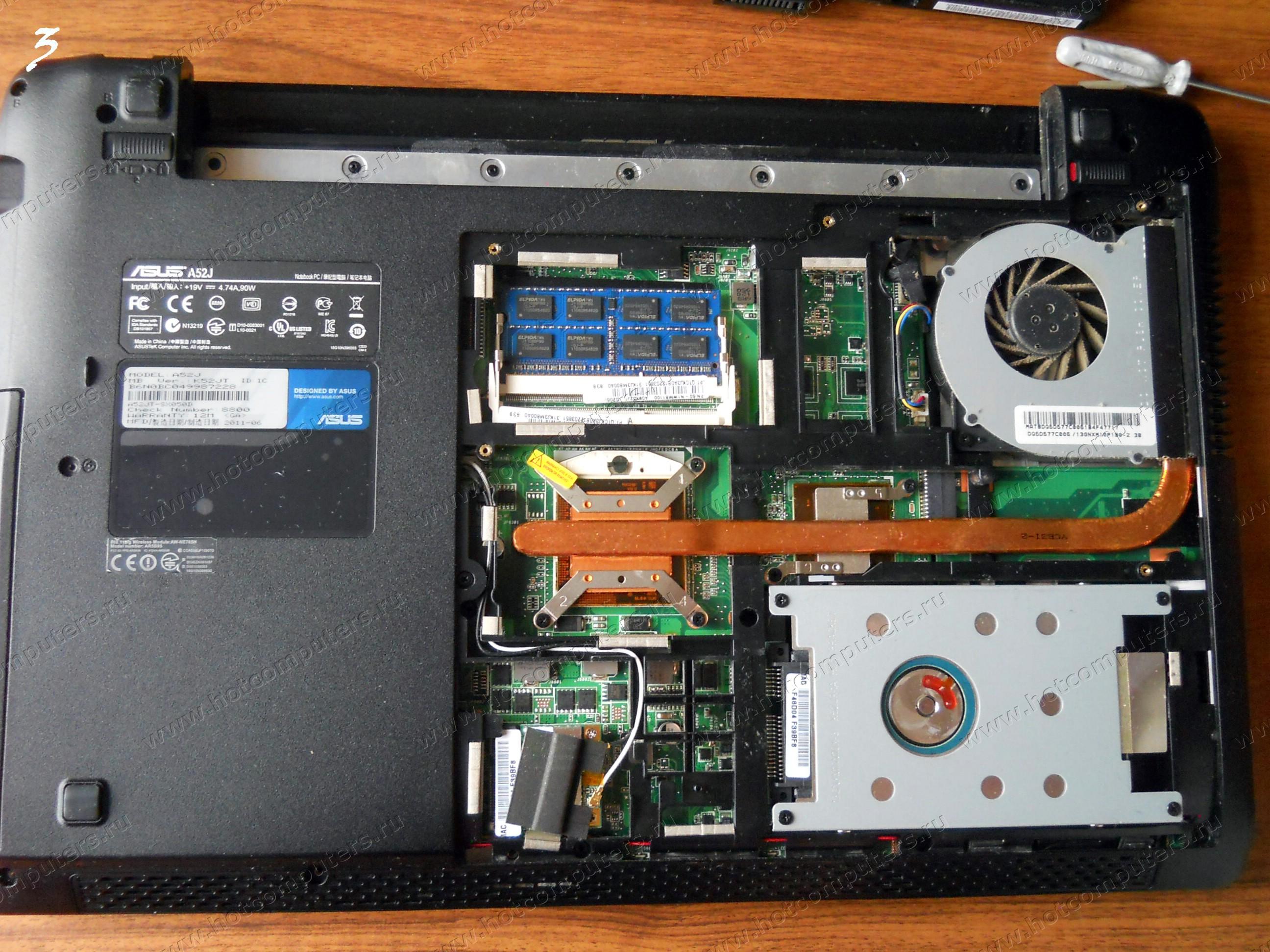 Вид внутренней части ноутбука Asus