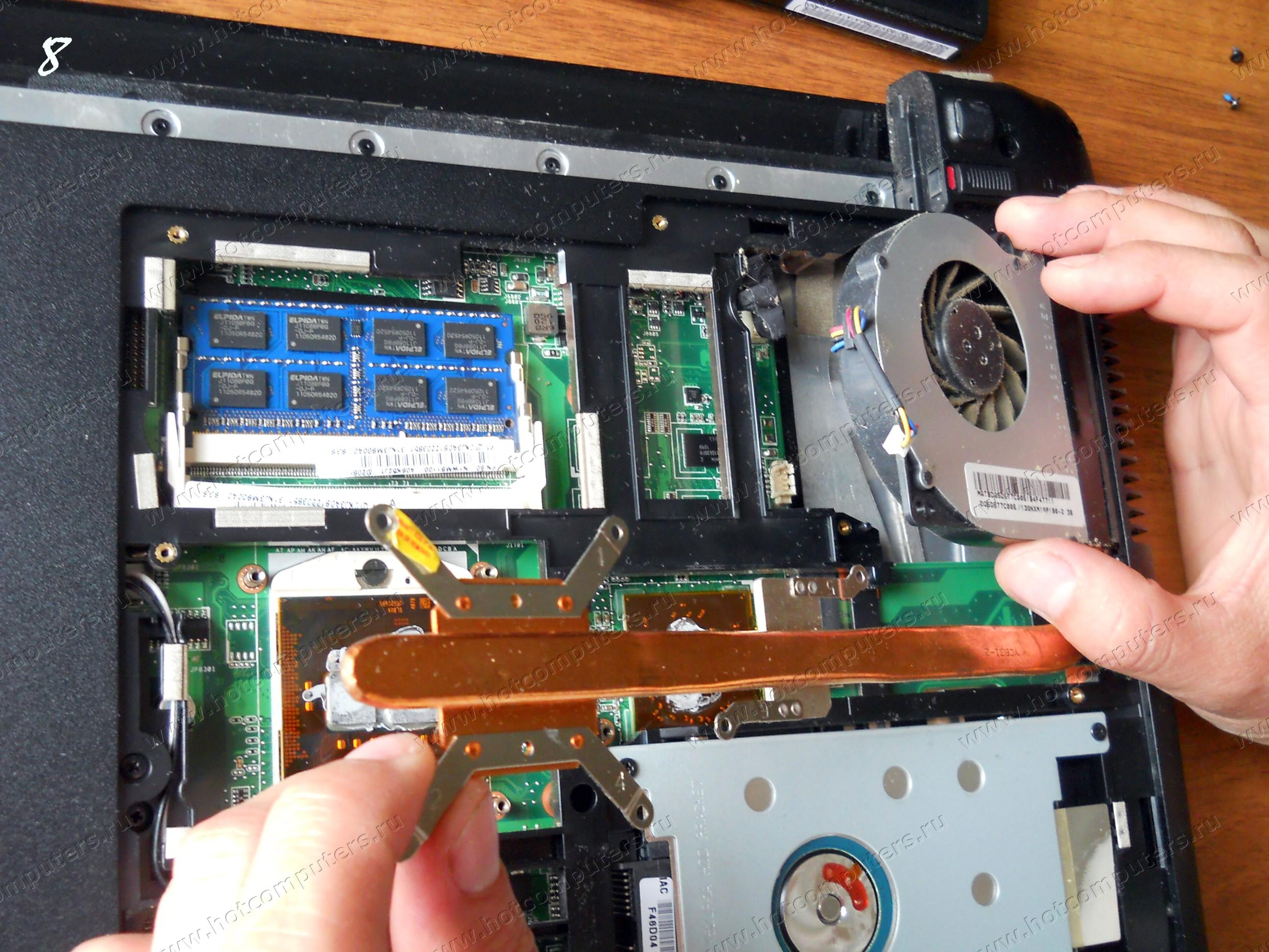 Снятие Кулера (Вентилятора) с ноутбука Asus