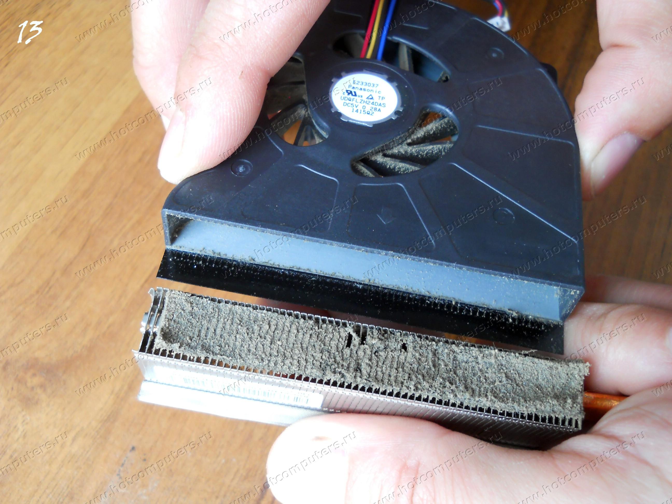 Скапливание пыли на поверхности радиатора кулера